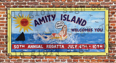 6ft JAWS Amity Island billboard SIGN BANNER art movie GRAFFITI beach pool bar