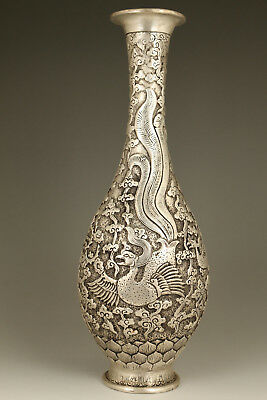 Old Chinese Copper Plating Tibet Silver Hand Carved phoenix Statue Big Vase gift