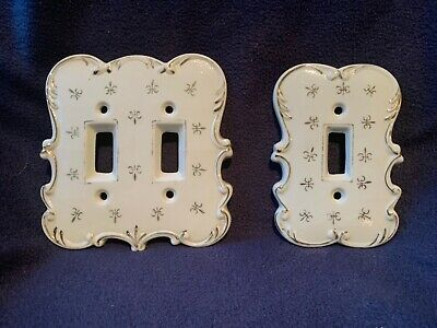 Vintage Hand Painted Porcelain SINGLE & DOUBLE Switch Plates