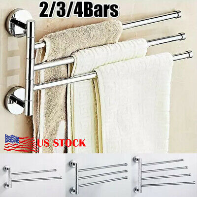 Bathroom Stainless Steel Towel Rail Rack Holder 3 Swivel Bar Wall Hanger Shelf