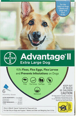 Bayer Advantage II for Extra Large Dogs Over 55 lbs - 6 Pack - FREE Shipping