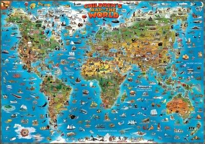 Childrens Map of the World flat laminated map dino (Dino Wall Map...