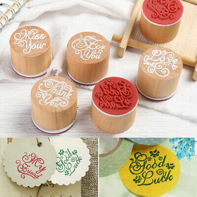 Decor Blessing Greeting Words Scrapbooking Letter Stamp Wooden Rubber Stamp