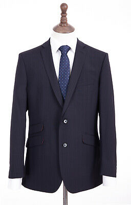 Men's Navy Blue Pinstripe Suit Tailored Fit