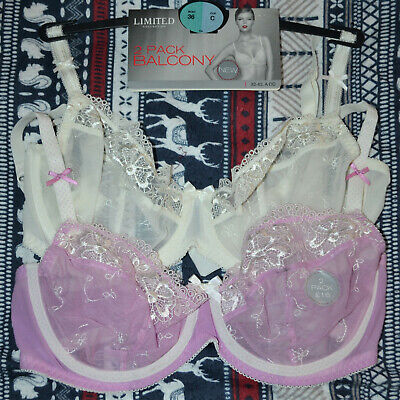 Ladies M&S 2 Pack Balcony Bra Size 36C Non Padded Underwired Pink Mix Bnwt