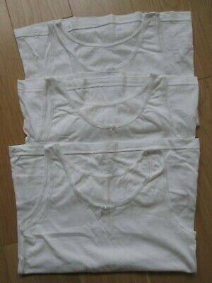 3 x Girls White Cotton Vests. F&F / Tesco. 9-10 Years