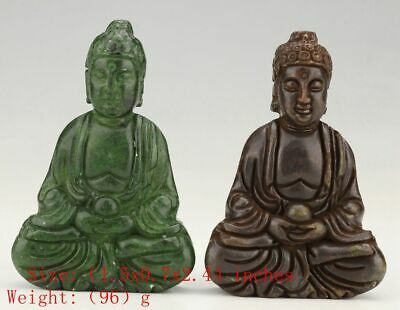2 Rare Chinese Jade Statue Guanyin Spiritual Old Hand-Carved Collec Gift