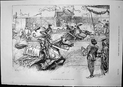 Old Antique Print English Sports Pastimes Joust Horses Riders Armour 1891 19th