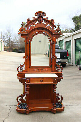 Fancy Large Walnut Victorian Renaissance Revival Marble Top Hall Tree ~ Ca.1870