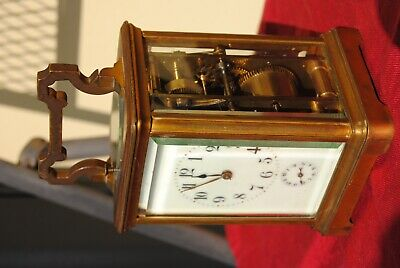 Big French gilt brass Striking Repeating Carriage Alarm Clock