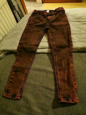 Boys Skinny Jeans Aged 7-8 Red Black