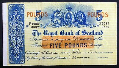 ROYAL Bank of SCOTLAND 1950 £5 Uncirculated Banknote with Folds CS64