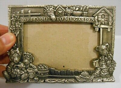 Sixtrees Pewter ~ WELCOME TO MY GARDEN ~ Tabletop Picture Frame ~BEARS