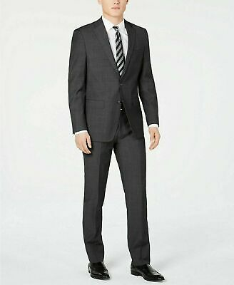 $650 Calvin Klein Men's Slim-Fit Charcoal Herringbone Suit 44R / 37W