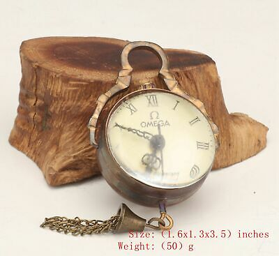 Antique China Copper Crystal Pendant Pocket Watch Mechanized Handicraft Old
