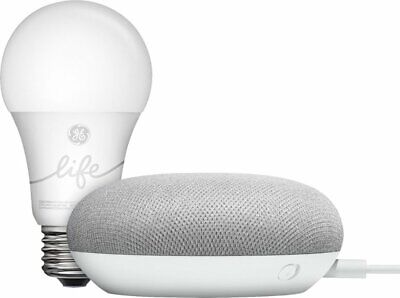 NEW Google Home Mini Smart Light Starter Kit with Google Assistant Speaker Chalk