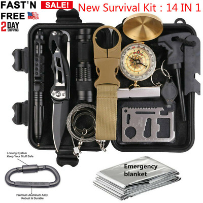 14In 1 Outdoor Camping Tactical Survival Gear SOS EDC Self Defense Emergency Kit
