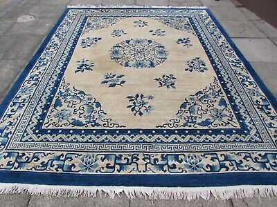 Antique Worn Hand Made Art Deco Chinese Beige Blue Wool Large Carpet 305x245cm