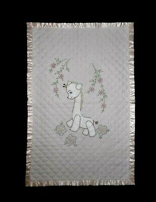 Vintage Hand Embroidered Quilted Giraffe Floral Baby Nursery Crib Quilt Blanket