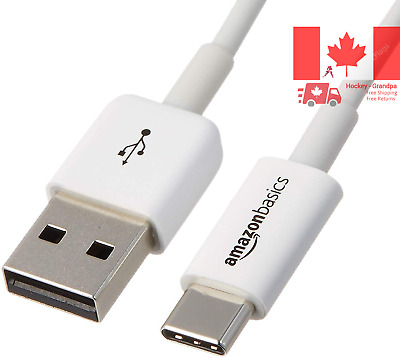 USB Type-C to USB-A 2 0 Male Charger Cable - 6 Feet 1 8 Meters - White