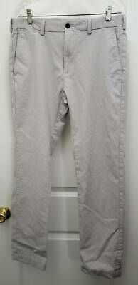 Brooks Brothers Red Fleece Mens Straight Pants Gray Stretch Flat Front 34 x 30