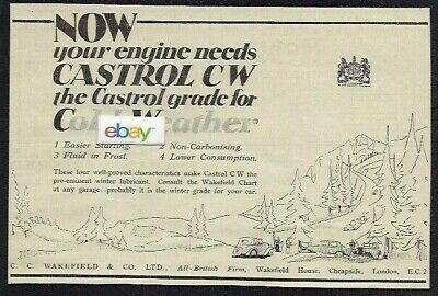 Castrol Oil Company 1930 Now Your Engine Needs Castrol Cw Grade Cold Weather Ad