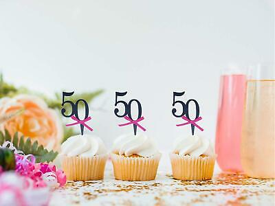 24 X 50TH BIRTHDAY ANNIVERSARY EDIBLE CUPCAKE TOPPERS CAKE WAFER RICE PAPER 1157