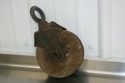 Vintage antique cast iron wood rope hay drop pulley barn farm tool rustic