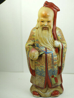 """Mid Century robed Fuk wise sage holding fruit Chinese Asian Figurine 8 """" tall"""