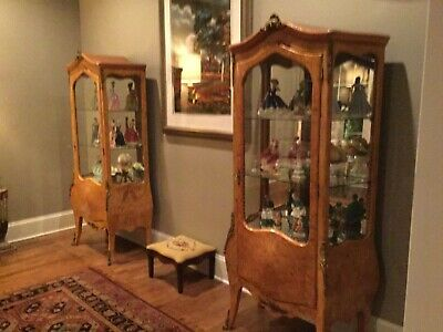 A PAIR (TWO) Matching Burl Wood Antique French Louis XV Curio Cabinet/Vitrine
