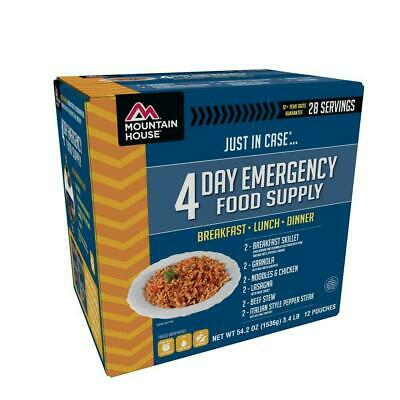 just in case 4-day emergency food supply kit | mountain house servings blue box