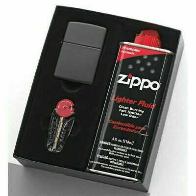 New / Zippo 218 Matte Black Lighter With 125Ml Fluid & Flints Gift Boxed