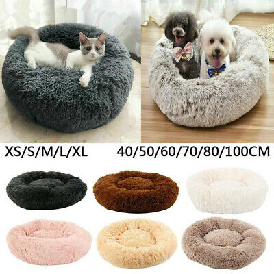 Comfy Calming Dog Cat Pet Bed Round Super Soft Plush Puppy Bed Marshmallow Cat