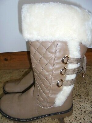 size 4 winter boots brown faux fur lined mid calf ideal cold weather