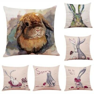 18'' Spring Easter Pillow Covers Cases Decorative Cushion Sofa Rabbit Bunny
