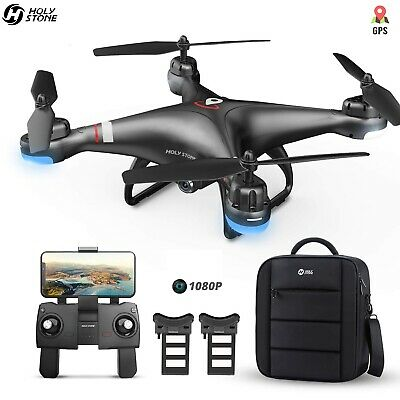 Holy Stone HS110G GPS drone with 1080P camera FPV 2 battery with backpack selfie
