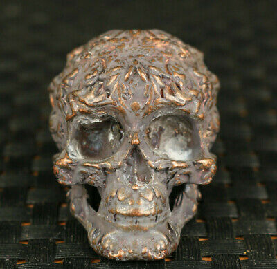 Cool chinese old bronze hand carved skull statue figure collectable decoration