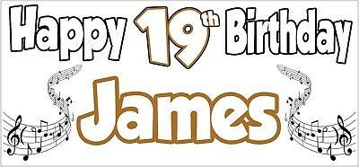 Singer Music 19th Birthday Personalised Banner X2 Party Decorations Teenager