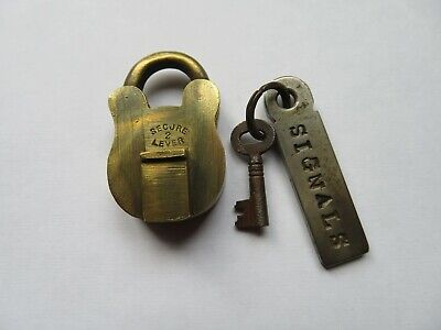 Small Antique Brass Padlock & Key Secure 2 Lever Signals