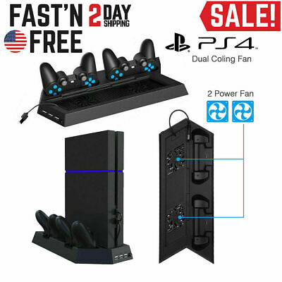 PS4 Cooling Station Vertical Stand 2 Controller Charging Dock For PlayStation 4