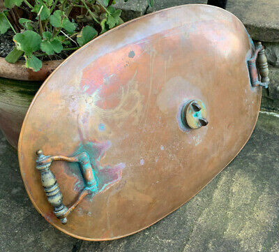 Rare Large Antique Heavy Copper Oval Carriage Foot Warmer Bed Warmer Automotive