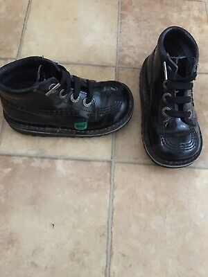 Kickers Kids Black Patent Shoes, Size 24 (UK 7), Very Good Condition