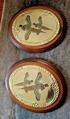 Vintage large oval wall solid wood plaque embossed brass painted pheasants
