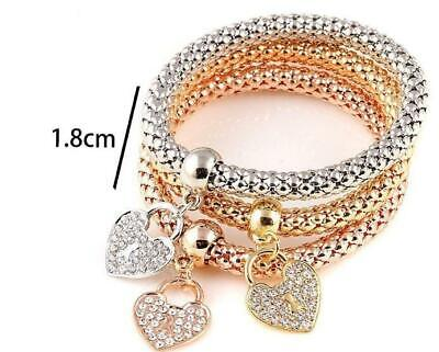 Women Fashion 3Pcs Bangle Gold Silver Rose Gold Bracelets Set Rhinestone Jewelry