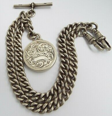 STUNNING CLEAN HEAVY 64g ENGLISH ANTIQUE 1920 SOLID SILVER DOUBLE ALBERT CHAIN