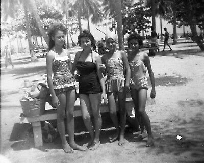 ORIGINAL VINTAGE NEGATIVE: Beach Girls Swimsuits Picnic Tropical Palm Trees 50's
