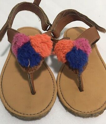 CARTER'S Girls Youth Size 10 OPEN TOE Pom Pom Flip Flop SANDALS SHOES Flat