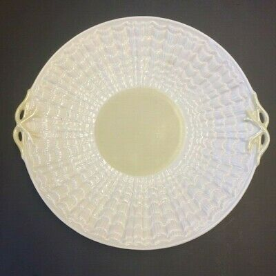 Belleek Tridacna  Double-Handled Cake Plate 3rd Green Mark 1965 - 1980