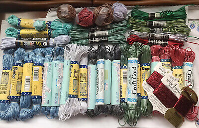 Lot Of 35 New (Most) Plastic Canvas Cord Metallic Darice Needloft Bwa Cca Rayon