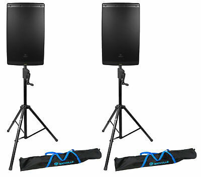 "(2) JBL EON615 15"" 1000 Watt Powered DJ PA Speakers+(2) Crank-Up Speaker Stands"